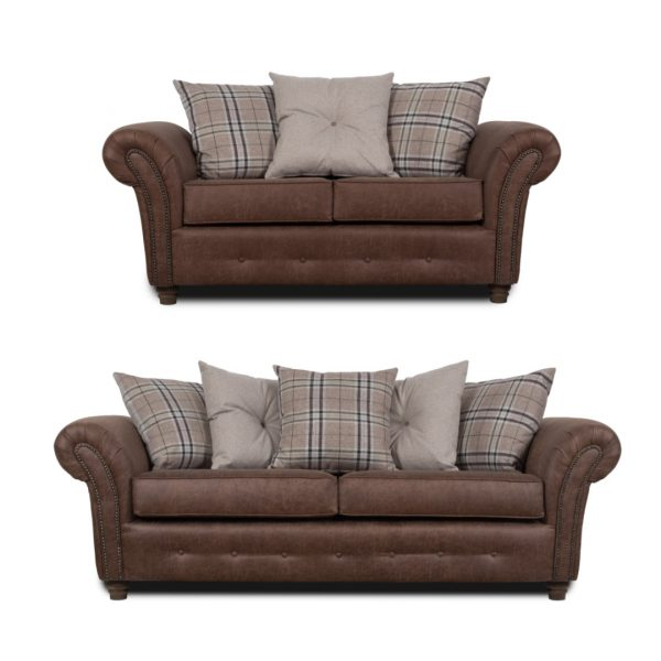 Northumberland 3 & 2 Seater Brown Faux Leather Sofa